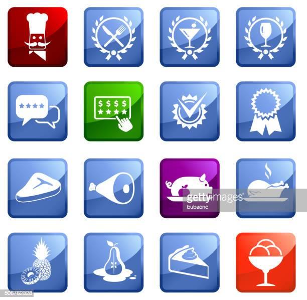 Gourmet Restaurant icon set on white background.