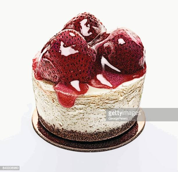 gourmet strawberry cheesecake dessert. small single serving. - whipped food stock illustrations, clip art, cartoons, & icons