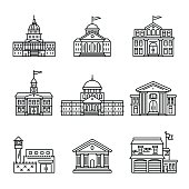 Government and education buildings set