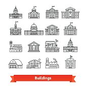 Government and educational public building set