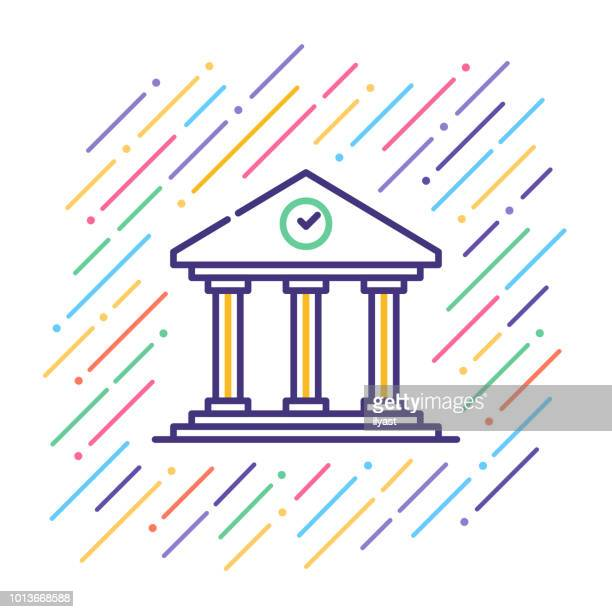 government building line icon - architectural dome stock illustrations, clip art, cartoons, & icons