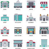 Government buildings vector flat icons set