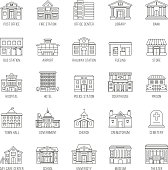 Government buildings vector thin line icons set