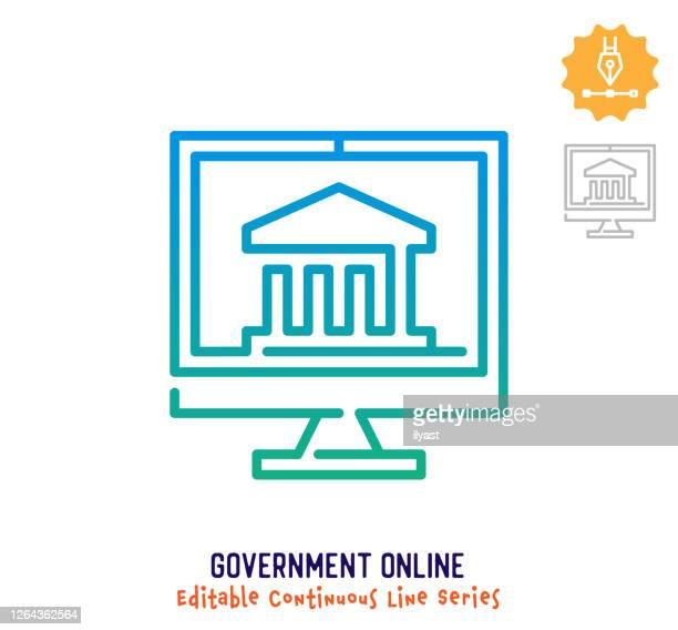 government online continuous line editable stroke icon - criação digital stock illustrations