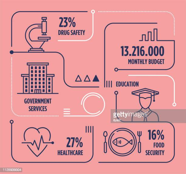 illustrations, cliparts, dessins animés et icônes de gouvernement services vecteur ligne infographie avec icônes - infographie