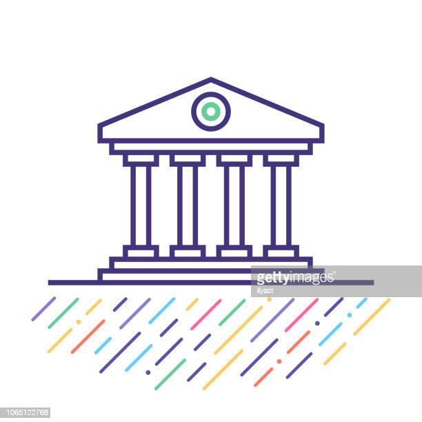 government site line icon illustration - column stock illustrations