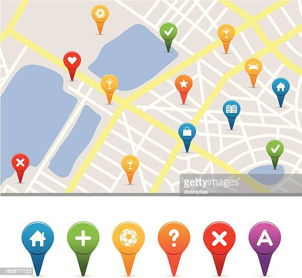 gps icons with street map - distance marker stock illustrations