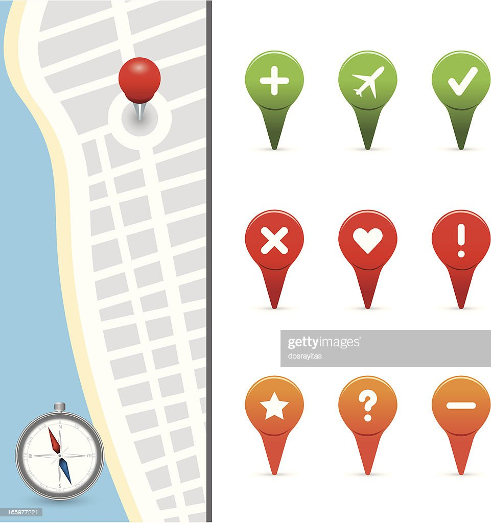 gps icons with street map : stock illustration