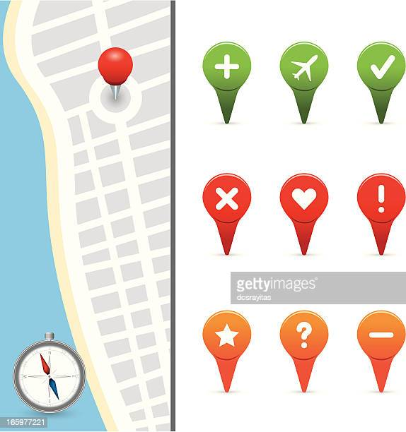 gps icons with street map - thumbtack stock illustrations, clip art, cartoons, & icons