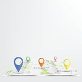 GPS.Gps icon 5 color dropping on street Map.vector illustration