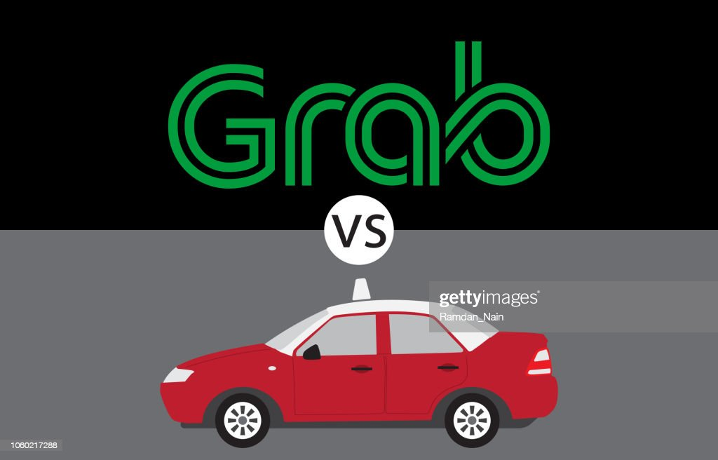 Grab and the red-white Malaysian Taxi or Cab