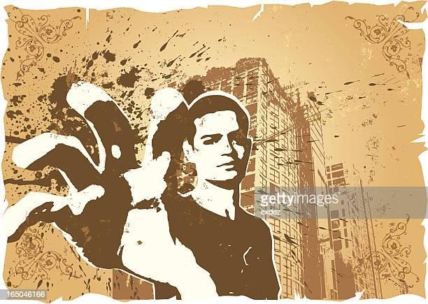 ilustraciones, imágenes clip art, dibujos animados e iconos de stock de mano de sujeción en la ciudad de estilo grafitti - funky
