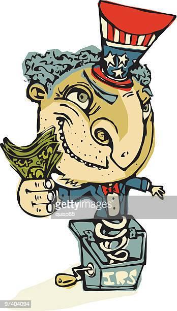 illustrations, cliparts, dessins animés et icônes de irs prendre de l'argent - diable à ressort