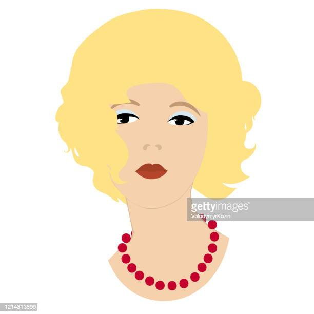 graceful brunette with a red necklace close-up - necklace stock illustrations