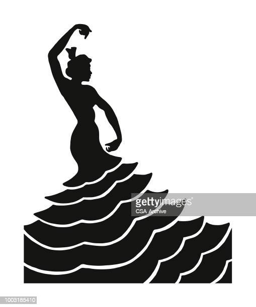 graceful dancer - spanish dancer stock illustrations, clip art, cartoons, & icons