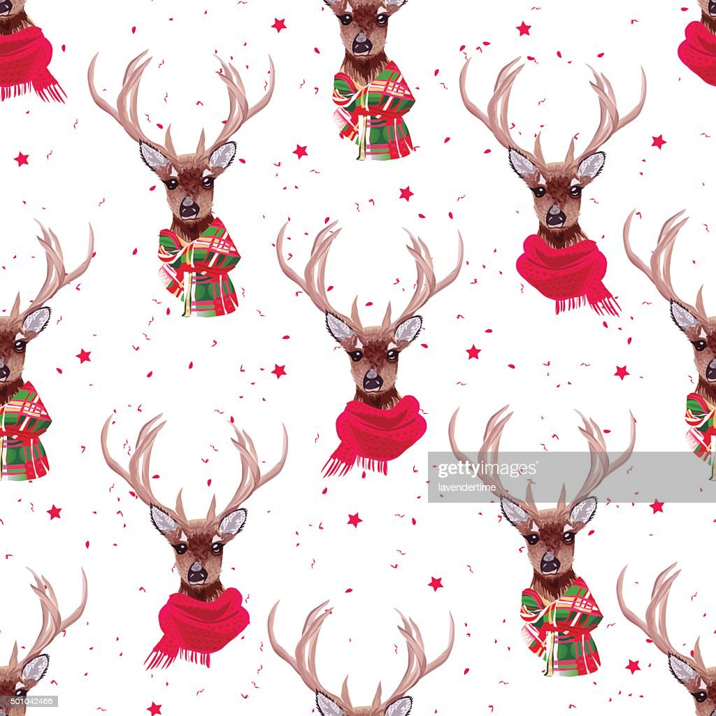 Graceful deer wearing winter scarves seamless vector print