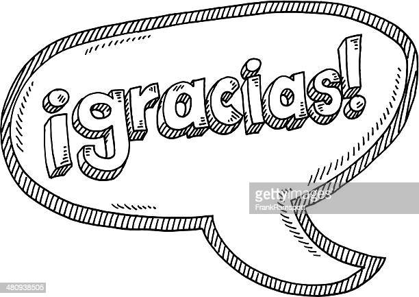 gracias! spanish text speech bubble drawing - thanks quotes stock illustrations