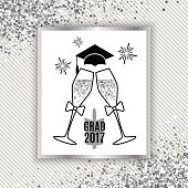 Grad greeting card 2017 class of with glasses of champagne, hat and fireworks for invitation, banner, poster, postcard. Isolated