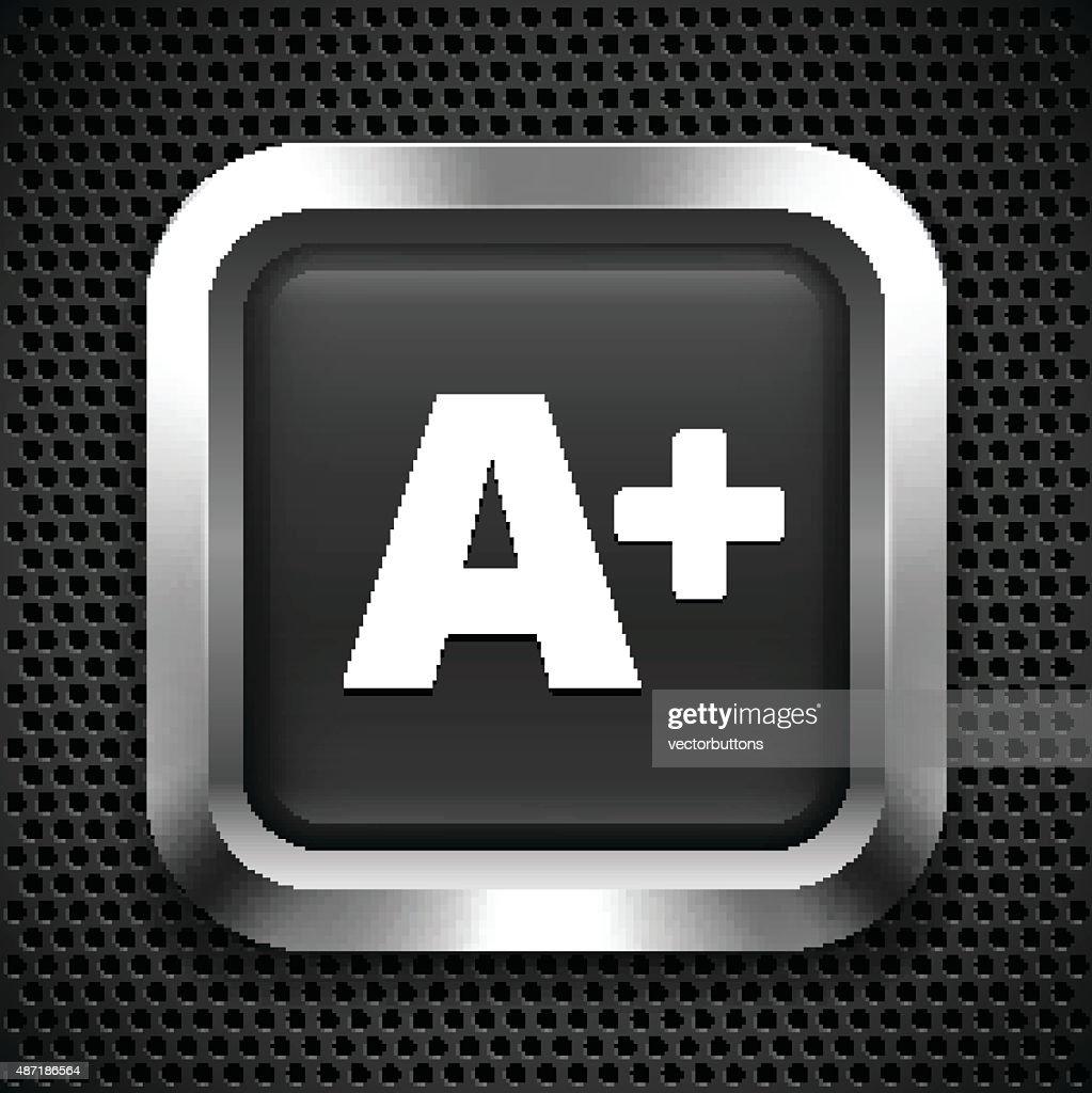 Grade A+ on Black Square Button