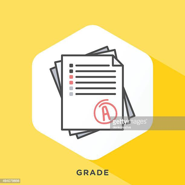 grade note icon - test results stock illustrations