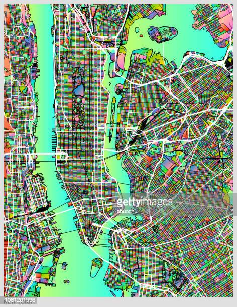 gradient art map of new york city structure - physical geography stock illustrations