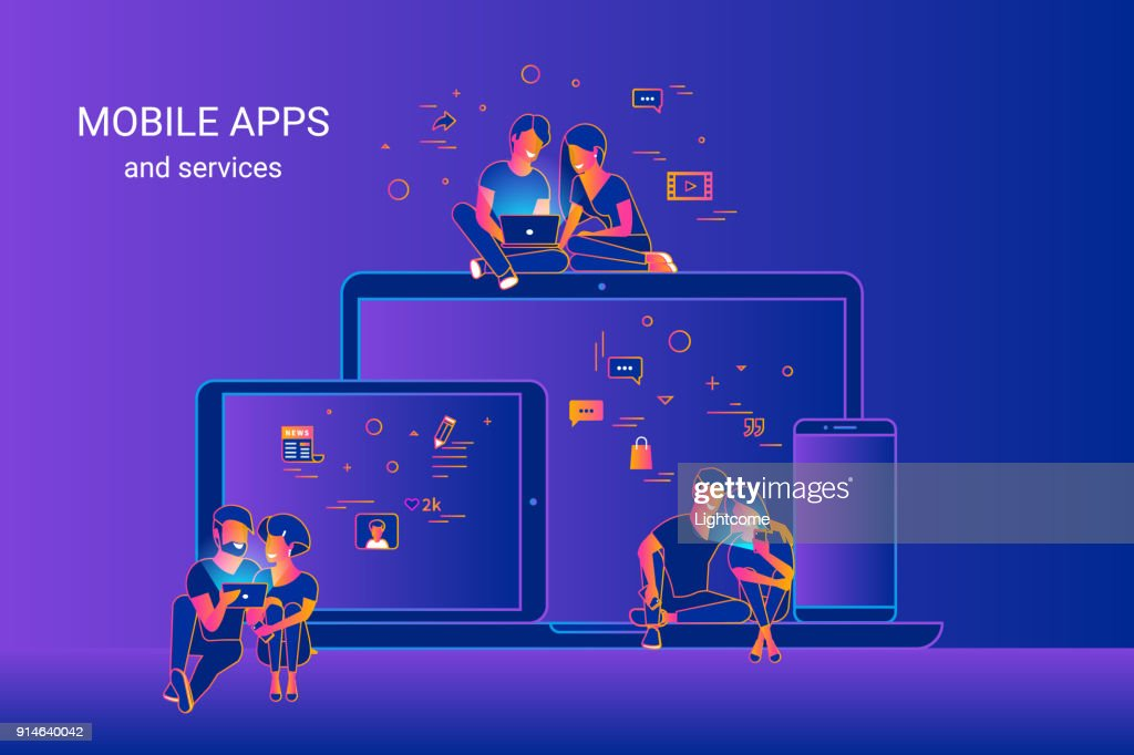 Gradient line vector illustration of people using gadgets and enjoying ux and ui design. Couples using cross platform mobile apps