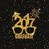 Graduate 2017 class of greeting card with glasses, hat and fireworks for invitation, banner, poster, postcard