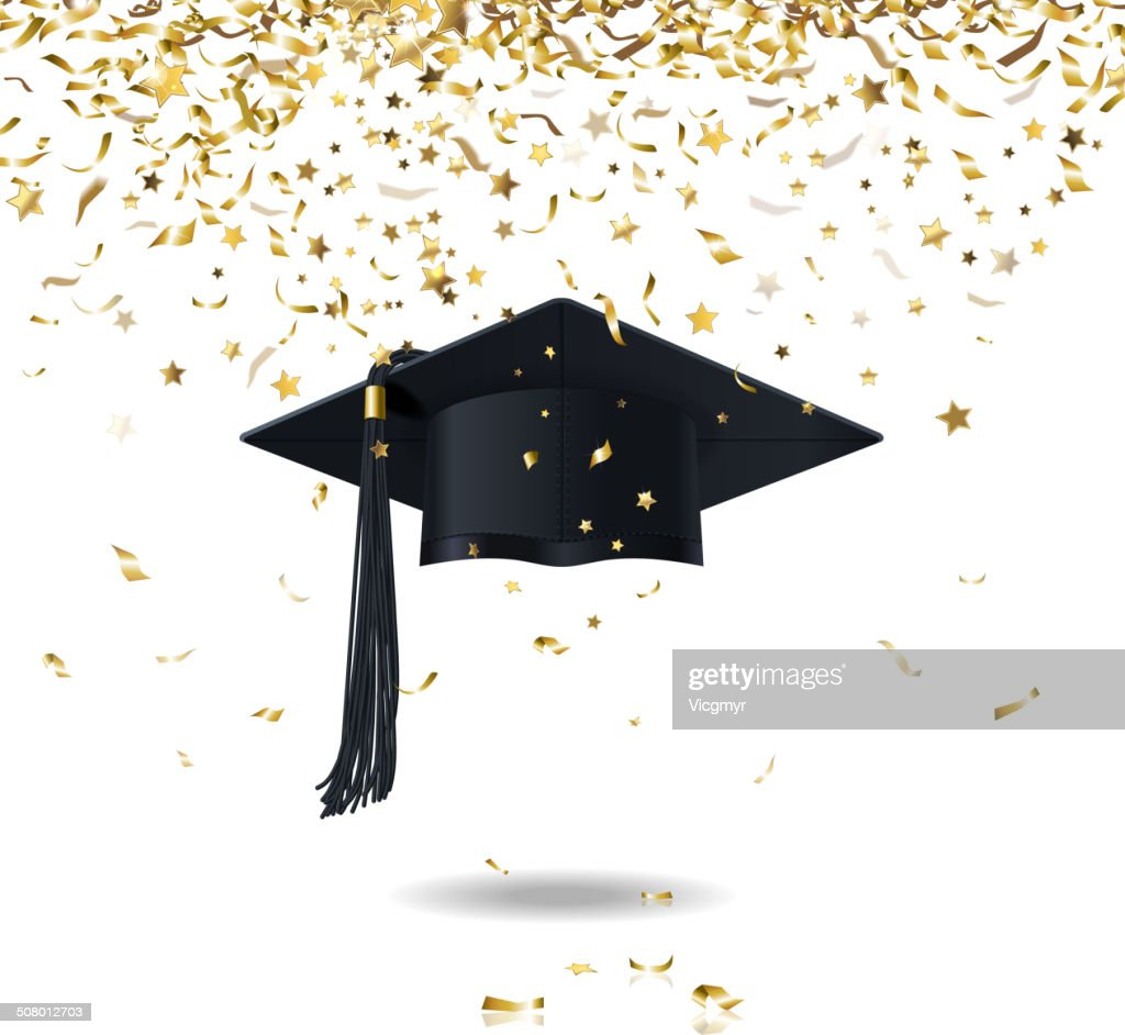 graduate cap and confetti
