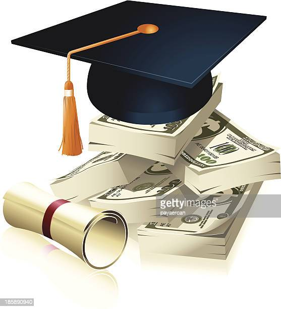 a graduate cap on the stack of dollars - cash flow stock illustrations, clip art, cartoons, & icons