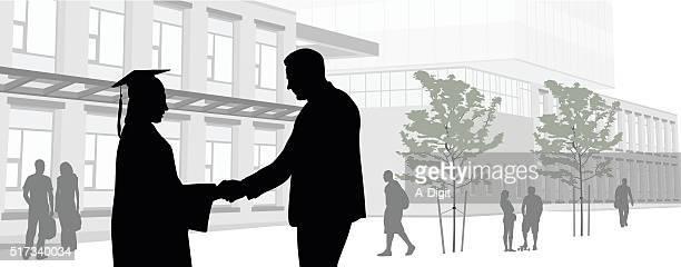 Graduate Handshake Panorama