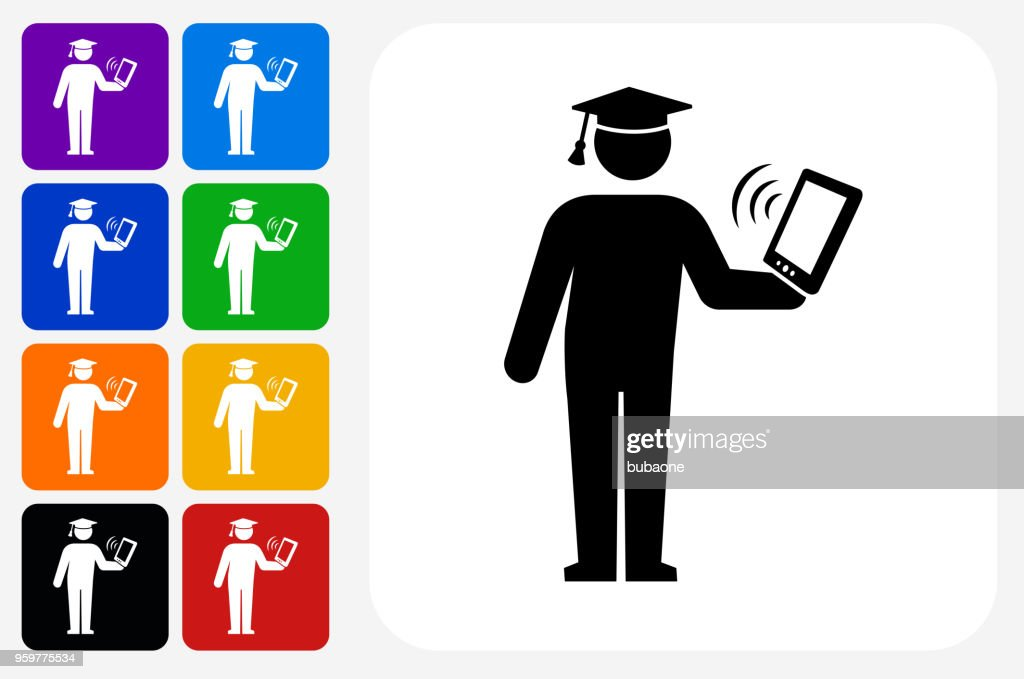 Diplom-Holding Tablet Symbol Square Buttonset : Stock-Illustration