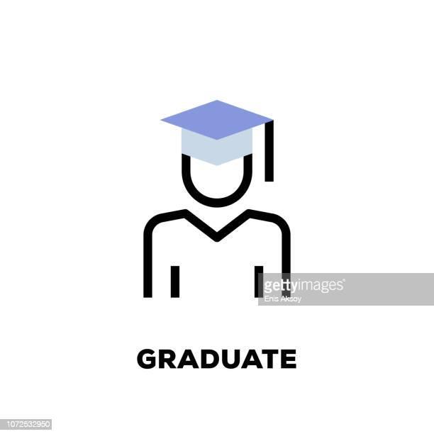 graduate liniensymbol - hochschulstudium stock-grafiken, -clipart, -cartoons und -symbole