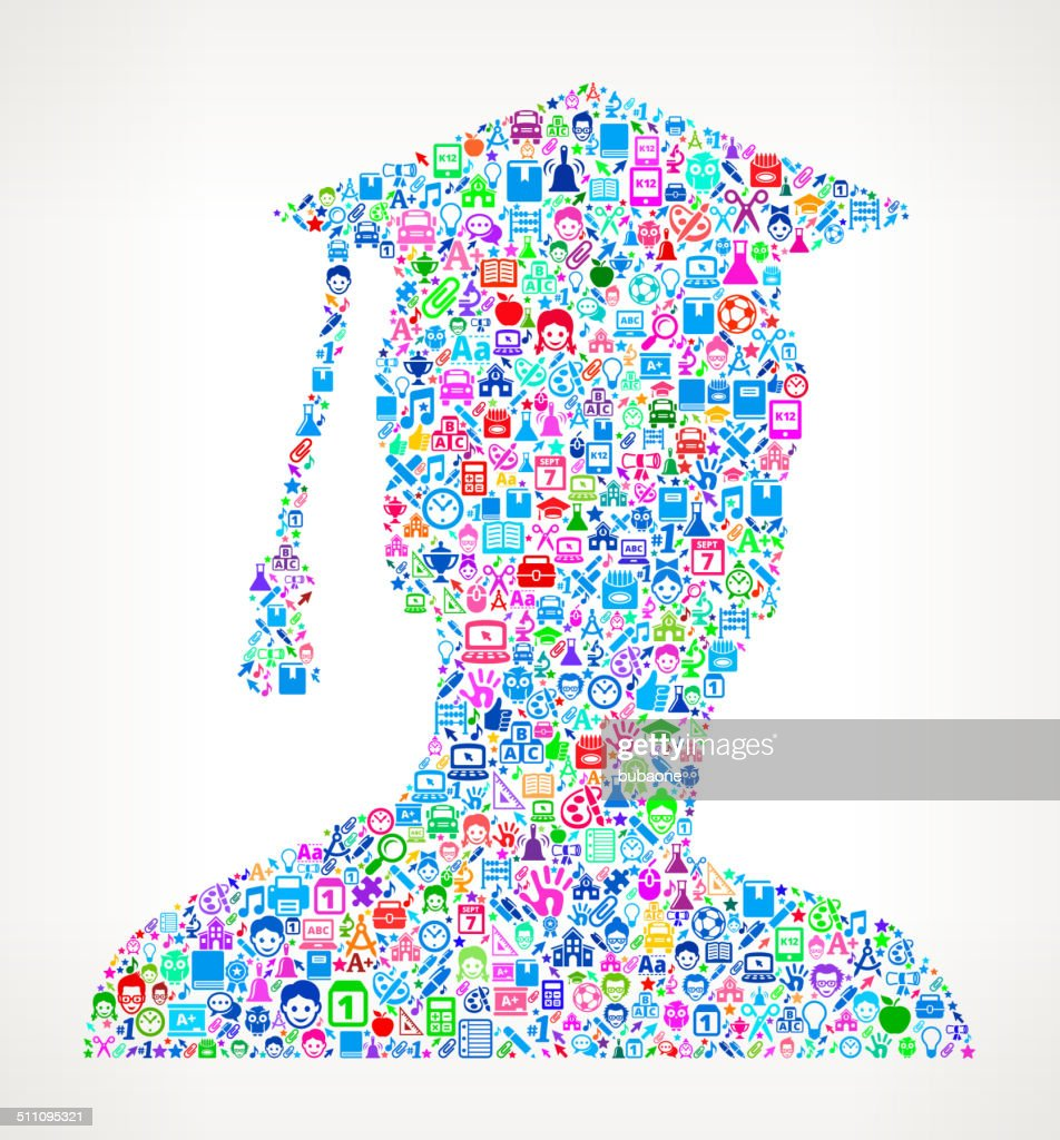 Graduate Man on educational royalty free vector art Pattern : stock vector