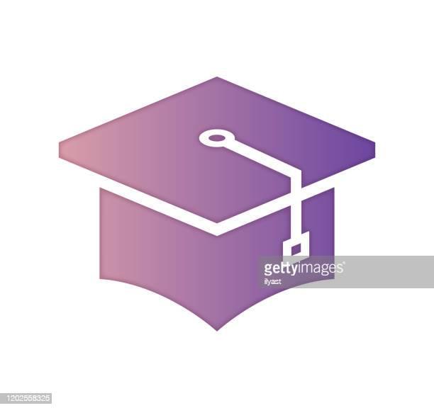 graduate program gradient color & paper-cut style icon design - master's degree stock illustrations