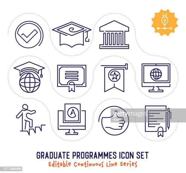 illustrazioni stock, clip art, cartoni animati e icone di tendenza di pacchetto icone linea continua modificabile per programmi graduate - continuità