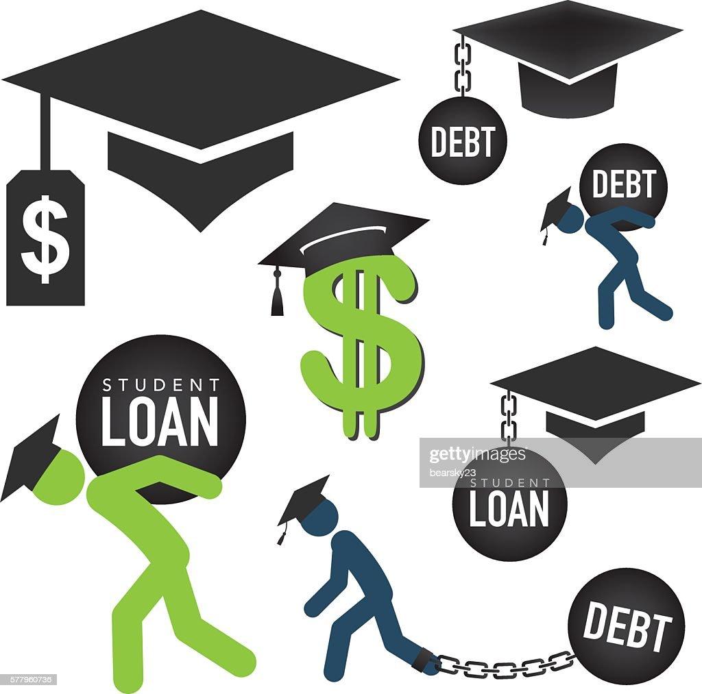 Graduate Student Loan Icon Set