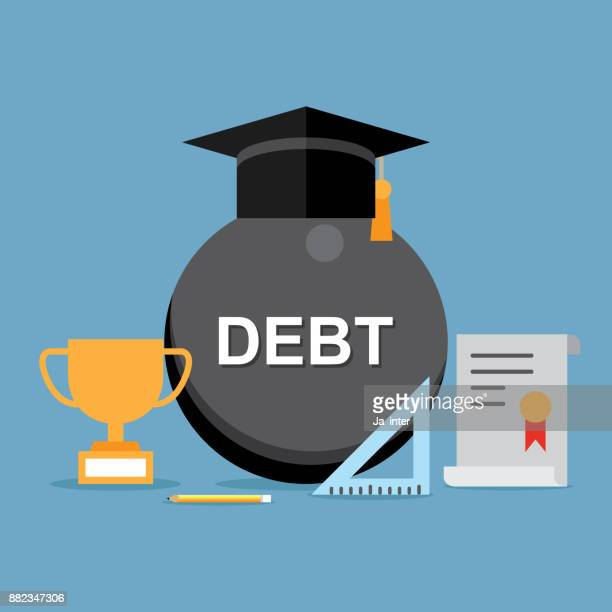 graduate student loan - forgiveness stock illustrations, clip art, cartoons, & icons
