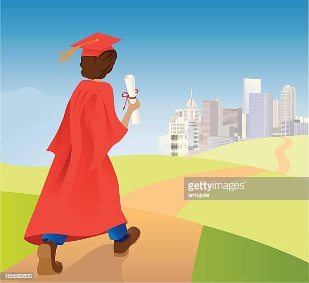 Graduate walking toward future