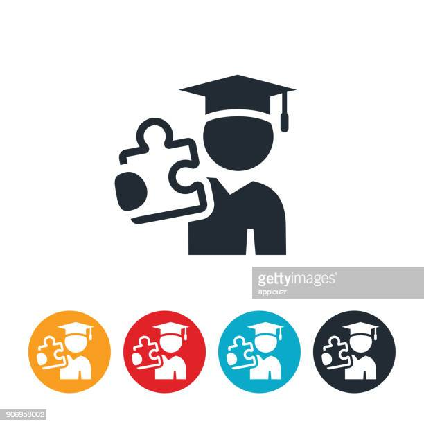 Graduate With Puzzle Piece Icon