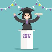 Graduated student wearing a cap and a gown standing behind the tribune / flat editable vector illustration, clip art