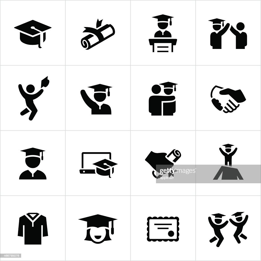Graduates and Graduation Icons