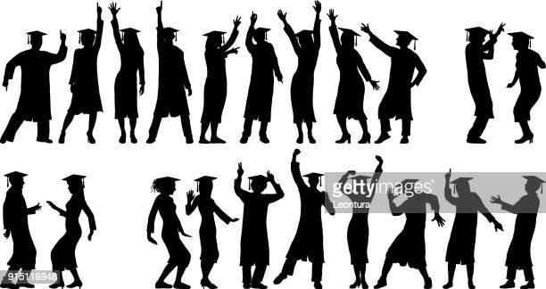 graduates dancing - glühend stock illustrations