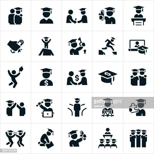 graduates icons - students stock illustrations, clip art, cartoons, & icons