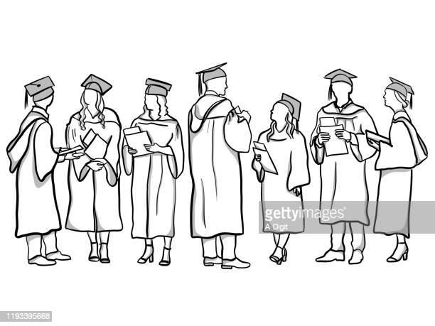 absolventen - feierliche veranstaltung stock-grafiken, -clipart, -cartoons und -symbole