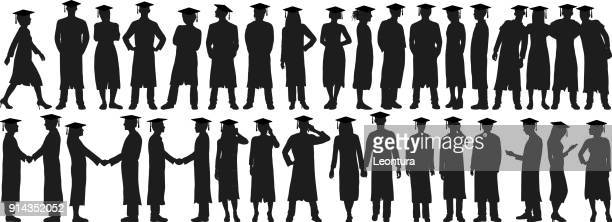 graduates - arm in arm stock illustrations, clip art, cartoons, & icons