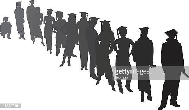 graduates waiting - unrecognisable person stock illustrations