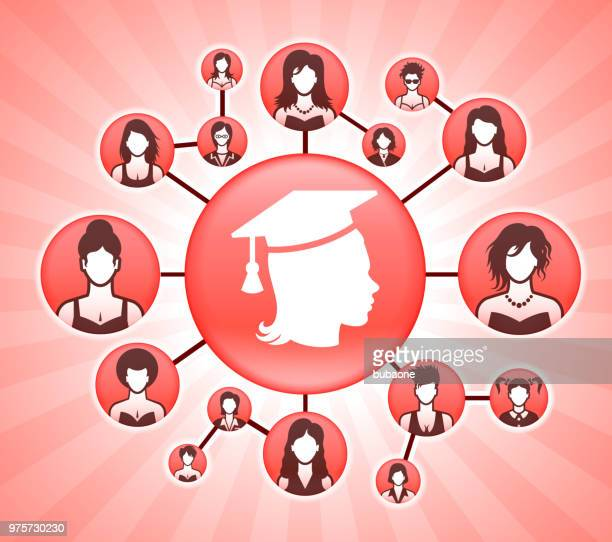 graduating female women's rights pink vector background - me too social movement stock illustrations, clip art, cartoons, & icons