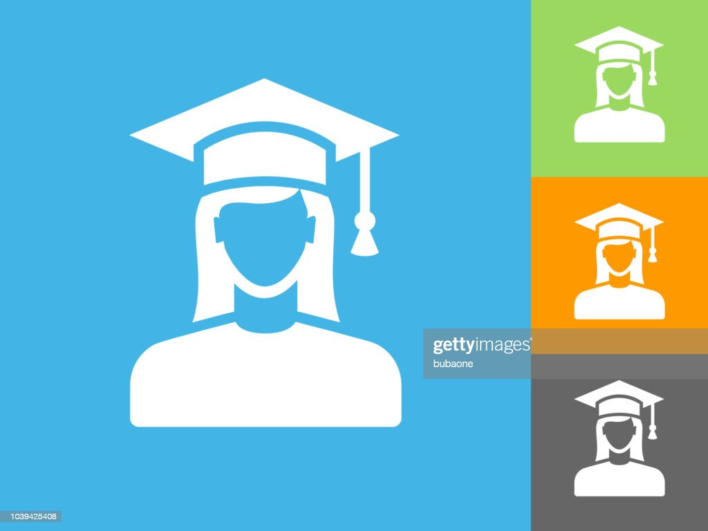 Graduating Females Face Portrait Flat Icon On Blue