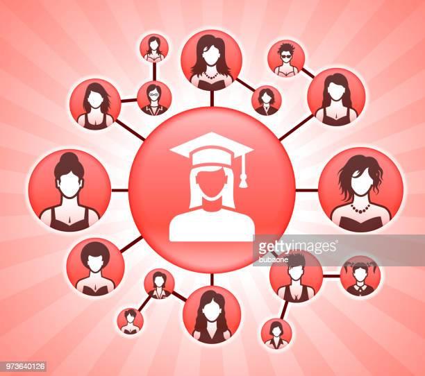 ilustrações, clipart, desenhos animados e ícones de rosto retrato dos direitos da mulher-de-rosa do vetor fundo do graduação feman - trabalhador de colarinho branco