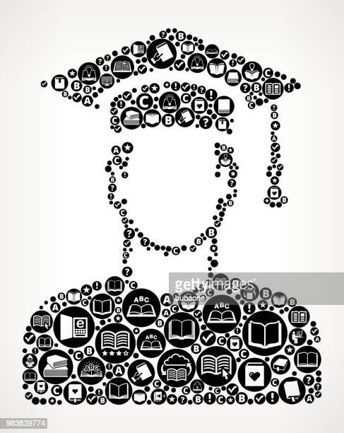 graduating man's face portrait books and reading icon pattern background - icon collage stock illustrations
